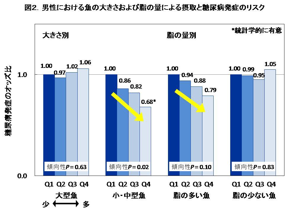図2.男性における魚の大きさおよび脂の量による摂取と糖尿病発症のリスク
